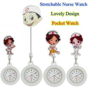 Wholesale White Angel Male Female men women Nurse Doctor Medical Hospital Badge Reel Watch Stretchable Silicone Cartoon Pocket Watches