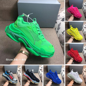 Wholesale With Box designer FW Triple S Adds A Clear Bubble Midsole Sneakers mens women Neon Green luxury increasing Brand Casual Dad Shoes