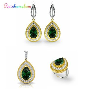 Wholesale Rainbamabom Real Solid Sterling Silver Sets Water Drop Pear Emerald Gemstone Necklace Earrings Ring Jewelry Sets