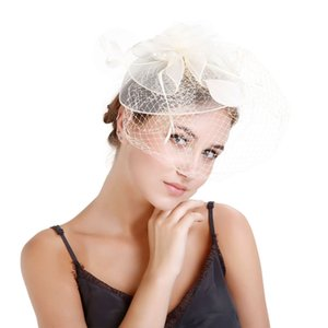 Wholesale Ornaments Soft Cocktail Handmade Bride Elegant Hat Hair Clip Gift Artificial Feather Women Headwear Elastic Lightweight Wedding