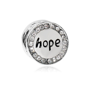 Wholesale hope necklaces bracelets resale online - Hope Round Alloy Charm For Pandora Bracelet Snake Chain Or Necklace Fashion Jewelry Loose Bead