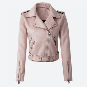 Women's Faux PU Leather Spring Suede Short Jacket Multy Zipper Motorcycle Coat Womens 2019 Autumn Dropshipping Biker Jackets on Sale