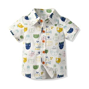 Wholesale Boys clothes Cartoon Print Shirts Designed for boys cute Candy Color Dragons Bunny Cats Fashion Blouse 7 styles B93