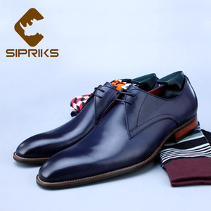 Wholesale Sipriks Mens Blue Formal Tuxedo Shoes Calfskin Office Gent Suit Shoes Italian Patina Brown Leather Grooms Wedding Blake