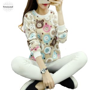 Wholesale Teddy Sweater Cute Bear Harajuku Christmas Sweaters Fashion Winter Wool Pullover Women Cashmere Knitted Warm Flannel