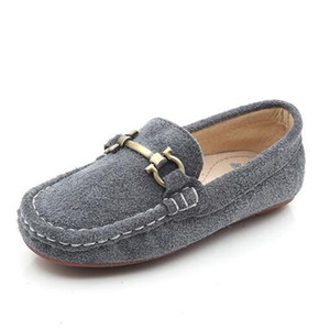 Wholesale New British style Nubuck Leather Children Shoes Loafers Boys Girls Genuine Leather Shoes Kids Flat Baby Casual Dress Shoes