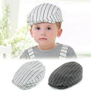 Wholesale Neborn Baby Boy Beret Hat Peaked Striped Cap Caps Photo Photography Gray White Colors