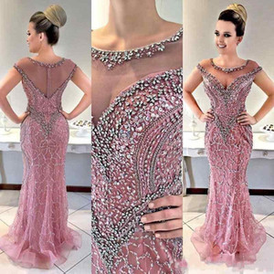 Wholesale 2020 Luxury African Mermaid Evening Dresses Crew Neck Beading Crystal Illusion Sheer Back With Zipper Sweep Train Plus Size Prom Party Gowns