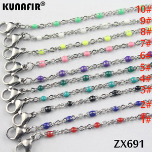 Wholesale 10pcs mm cross chain with colors Environmental protection resin stainless steel necklace women fashion jewelry ZX691