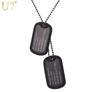 U7 Custom Engraved Dog Tags Personalized Name Pendant Necklaces Men Jewelry Gifts Stainless Steel Long Chain Military Army Style