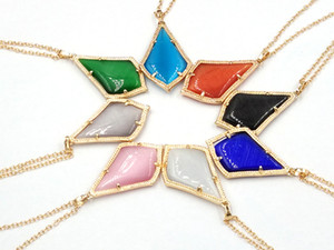 Wholesale small stone pendant necklace resale online - 2019 New Spring Summer Small Water Drop CatS Eye Stone Inlay Multi Color Pendant Necklace Have Match Set Women Fashion Jewelry