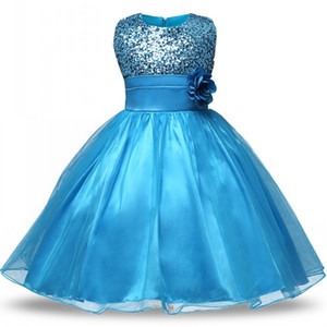 Wholesale Lovely Blue Sequined Flower Girls Dresses Jewel Neck Cheap Party Dress for Kids Pageant Gowns Birthday Dress