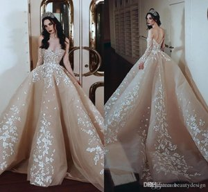 Wholesale 2020 Gorgeous Champagne Prom Dresses With White Appliques Arabic Dubai Style Elegant Off Shoulder Low Back Event Look After Party Dress