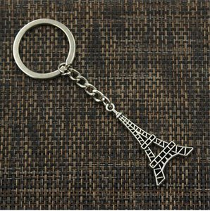 Wholesale 20pcs Key Ring Keychain Jewelry Silver Plated Eiffel Tower Charms x24mm key Accessories