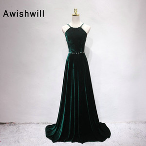 Wholesale Real Photos Sexy Open Back Prom Dress Long Beaded Velvet Evening Gown A Line With Straps Women Formal Party Dress Dark Green