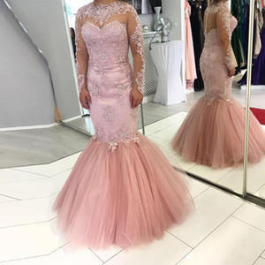 Elegant Pink Lace Mermaid Long Evening Dresses With Full Sleeves Evening Gowns High Collar Semi Illusion Back Robe De Soiree Arabian Robes on Sale
