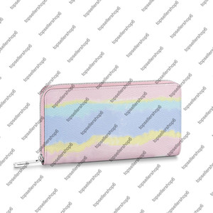 Wholesale cash gold for sale - Group buy M69110 M68841 ESCALE ZIPPY WALLET canvas real Cowhide leather women men tie dye cash card coin zipper wallet purse bag