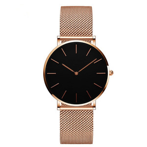 Wholesale High quality Fashion Women Watch Top Brand Luxury Stainless Steel Mesh Luxury Wristwatch Japan Quartz watch Rose Gold Designer Elegant style