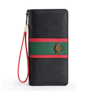 Wholesale Women Designer Genuine Leather Long Wallet Famous Bee Purse Ladies Long Leather Wallets Luxury Female Tri color Bag