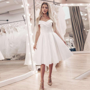 2020 Little White Dress Off the Shoulder A-line Wedding Dresses Cheap Short Wedding Dress Knee-Length Satin Bridal Gowns Robe De Mariage