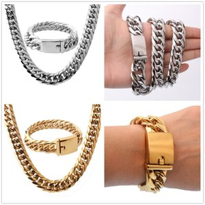 "16mm Cool Huge 316L Stainless Steel Silver Gold Tone Cuban Curb Chain Mens Boys Necklace 24""&Bracelet Bangle 8.66"" Jewelry on Sale"