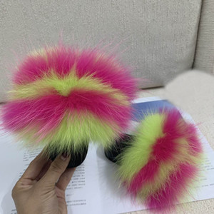 2019 Baby Fur Slides Real Fur Slides Slippers Furry Slippers Toddler Chaussons Enffor Kids Indoor House