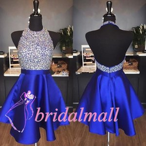 Backless 2019 Sequins Royal Blue Satin Short Prom Dresses Halter Neck Beaded Homecoming Dress Cheap Burgundy Cocktail Party Gowns Graduation on Sale