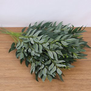 Wholesale silk leaf foliage resale online - 1Pc Artificial Willow Leaves Long Branch Silk Plants Flower Arrangement Green Leaves for for Home Garden Decoration Faux Foliage