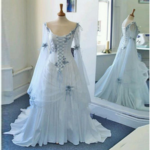 Wholesale Vintage Celtic Wedding Dresses White and Pale Blue Colorful Medieval Bridal Gowns Scoop Neckline Corset Long Bell Sleeves Wedding Gowns