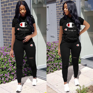 Women Champions Letter Summer Tracksuit Short Sleeve Hooded T-shirt + Ripple Holes Pants Leggings 2 Piece Sports Suit Brand Outfit new A3133