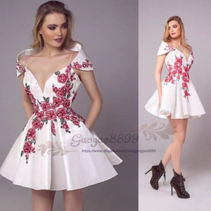 Wholesale 2019 Tony Chaaya White short prom dress with Embroidery floral lace Formal Dresses Evening Wear with pocket special back design custom made