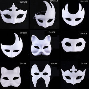 Fashion Makeup Dance White Masks Embryo Mould Painting Handmade Mask Pulp Festival Crown Halloween White Face Mask Toy TTA1542