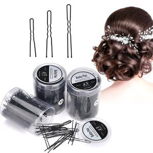 Wholesale 300pcs pack Black Hair Clips Bobby Pins Grip Salon Barrette U shaped Clips Hairpins Diy Pan Head Hair Accessories Styling Tools SH190719