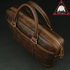Wholesale ANAPH Portfolio Men s Briefcases Genuine Leather Laptop Bags Mens Business Messenger Bags Slim Office Work Male Bag Chocolate