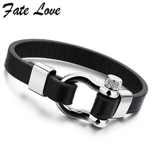 Wholesale Trendy Jewelry Leather Bracelet Men Stainless Steel Brand Mens Jewellery Accessories Handmade Black Bracelets Bangles Pulseras