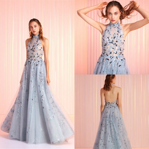 2020 Tony Ward Light Blue Evening Dresses Tulle Appliqued A Line Formal Prom Gowns Sexy Backless Sweep Train Custom Made Halter Party Dress on Sale