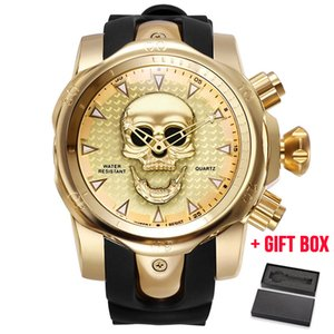 Wholesale Relogio Masculino Men s Skull Hollow Quartz Watch Men Skeleton Military Watches Big Design Male Clock Waterproof Wristwatches Y19052103