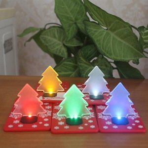 Wholesale christmas tree wreath resale online - LED Credit Card Light Lamp Bulb Christmas Tree Night Lights Pocket Folding Christmas Tree Shape LED Light Credit Card For Holiday ZZA1534