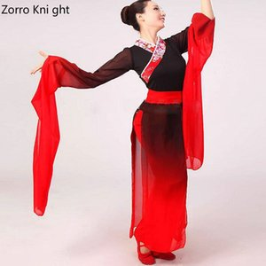 Wholesale New Woman Gradient Ink Water Sleeves Costumes Chinese Classical Dance Clothes Black Red Long Sleeves Hanfu Ancient Fairy Set