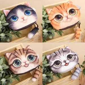 Wholesale 3D Printing Cat Face Cat With Tail Coin Purse Bag Wallet Girls Purses Change Purse Cartoon Handbag Case