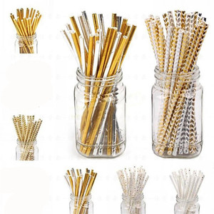Wholesale Gold Heart Star Stripe Chevron Paper Straws Baby Shower Decoration Party Wedding Halloween Christmas Event Supplies JK1909