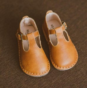 Wholesale 2019 New Superior Quality Genuine Leather Children Casual Shoes T-bar Baby Girls Shoes Flat Princess Mary Jane Shoes Size 21-30 J190508