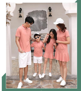 2019 New arrival Family Matching Outfits summer dress Comfortable Orange color fashion sports outfits