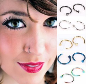 Wholesale New Nose Rings Body Piercing Jewelry Fashion Jewelry Stainless Steel Nose Hoop Ring Earring Studs Fake Nose Rings Non Piercing Rings dc682