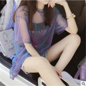 Wholesale Perspective Mesh Bling Fabric Short Sleeve Shirt Women Tops with Sling pieces set Girl Summer Beach Streetwear Casual Hot Tee