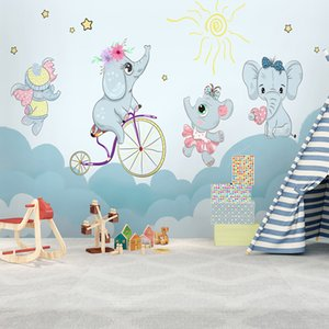 Wholesale Jointless Cartoon Custom wallpaper modern fashion D elephants riding bicycle Kid room background wall papers home decor