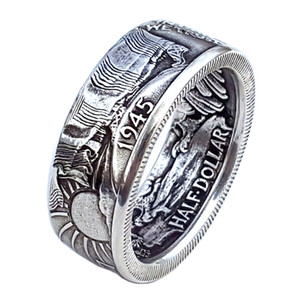 Wholesale half dollar coin for sale - Group buy 10pcs Fashion Coin Rings Vintage Half Dollar Carved quot the United State of American quot Ring In God We Trust Collecting Jewelry color G10
