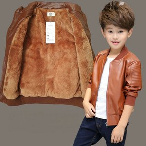Retail 5 colors boys girls plus Cashmere leather jacket Coats Winter kids designer jackets Fashion luxury warmer thick coat outwear on Sale