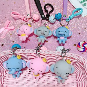 Creative Anime Baby Elephant Keychain Women Girls Cute Bag Pendant Key Chains Animal Trinkets for Car Keyrings Jewelry 6301432