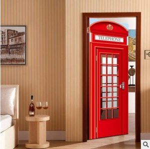 Wholesale 77x200cm 3D London Telephone Booth 3D Door Mural Sticker,Simulation Self-adhensive DIY Door Poster Home Decor Shop Bar decoration